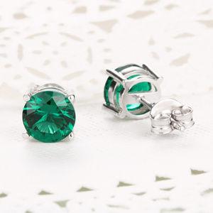 Sterling Silver Emerald Gemstone Stud Earrings